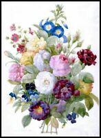 Chart Needlework DIY - Counted Cross Stitch Patterns -  Bouquet of Flowers