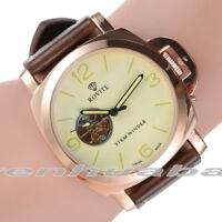Men's Luxury Automatic Mechanical Stainless Steel Leather Wrist Watch Skeleton