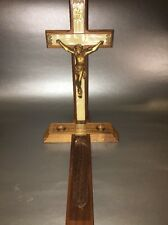 """VINTAGE LAST RITES SICK CALL 13"""" CRUCIFIX~ Faux WOOD MOTHER OF PEARL INLAY"""