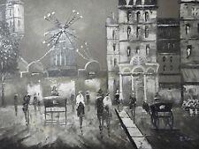 Moulin Rouge Parigi Pittura A Olio Tela Nero Bianco Francese Cityscape contemporanea