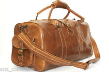 Medium Tan Real Leather Holdall Duffel Travel Sports Gym Designer Weekend Bag