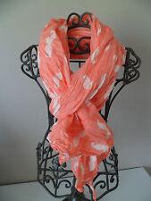 """foulard/chèche """"moustaches"""",orange corail.40% soie,60% coton."""