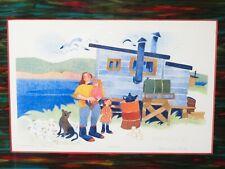 "Signed RIE MUNOZ ""FISHERMAN'S FAMILY"" 582/750 LIMITED ART PRINT Alaska Native"