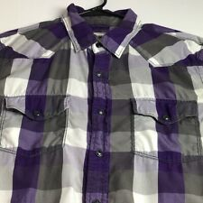 Express Men's Long Sleeve Button Up Shirt Medium M Purple Gray Plaid Snap Button