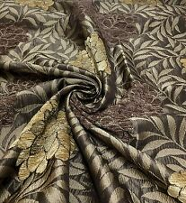 "SAMUEL SIMPSON ""MALHAM FLORAL"" LUXURIOUS BROWN CHENILLE FABRIC 5 METRES"