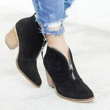 New Women's Leopard Ankle Boots Chunky Heels Pointed Toe Booties Casual Shoes