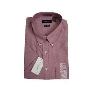 Van Heusen XXL Dress Shirt 2XL 18- 18.5 Short Sleeve Wrinkle Free Oxford Red