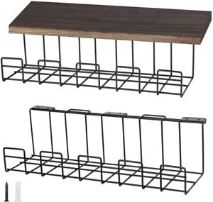 2 Pack Under Desk Cable Organizer Tray Wire Management Desk Cable Rack Black