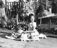 Vintage Old 1940's Photo Negative Pretty Little Girl Happy with White CAT 😻