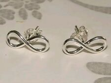 925 Sterling Silver Infinity Ear studs Earrings Solid Silver Ladies, Girls Boxed