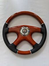 "RAPTOR 15"" BLACK LEATHER WOOD GRAIN STEERING WHEEL"