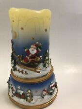 Avon Flameless Fluctuating Lights Pillar Candle Santa Holiday Scene 2008