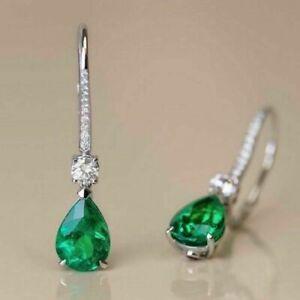 3 Ct Pear Cut Diamond Green Emerald Drop & Dangle Earrings 14K White Gold Finish