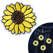 Sunflower Iron on patch sun flower head happy bud iron-on heat transfer patches