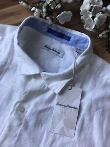 Tommy Bahama Mens Sz XXL White Button Up Linen Shirt Short Sleeve NWT
