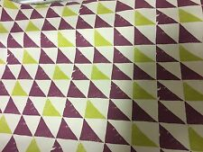 """CLARKE & CLARKE """"PRISM"""" 100% COTTON BERRY AND LIME FABRIC 15 METRES"""