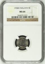 Mazuma *N45 Malaya QE 1958H 5c NGC MS64 Cert No.3646231-013