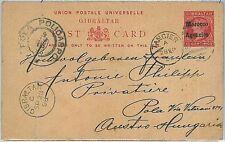POSTAL STATIONERY -  GIBRALTAR overprinted MOROCCO AGENCIES to POLA Istria  1898