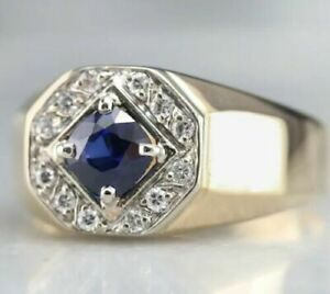 Natural Blue sapphire Ring 3.50 carat Gold plated handmade ring Birthday Gift