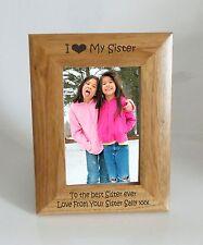 CORNICE Foto sorella-I heart-love mia sorella 4 x 6 CORNICE-INCISIONE GRATUITA
