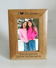 Sister Photo Frame - I heart-Love My Sister 4 x 6 Photo Frame - Free Engraving