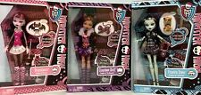 MONSTER HIGH 2012 CLAWDEEN WOLF...DRACULAURA...FRANKIE STEIN DOLLS WITH PETS