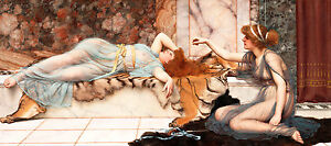 Mischief and Repose by John William Godward A1 high Quality Canvas Art Print