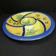 New listing Yellow and Blue Platter Chip and Dip Tray Platter Crudite Hors' de Ouevres