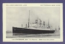 TSS Statendam - Vintage B&W Postcard - Holland America Line