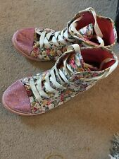 Sainsburys TU Girls Floral Canvas Ankle Boots Size 2 Nice Clean Condition