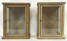 Pair Vintage Mid Century Modern Wood & Glass Shelf Display Cabinets
