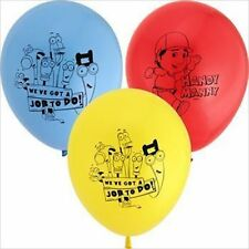 HANDY MANNY LATEX BALLOONS (6) ~ Birthday Party Supplies Helium Decorations Blue