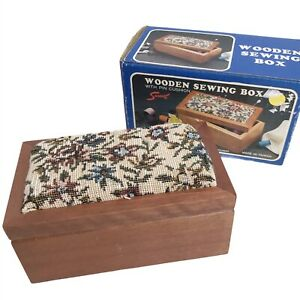 Wooden Sewing Box With Pin Cushion 1984 Justen Saravel Floral Vintage 21365B