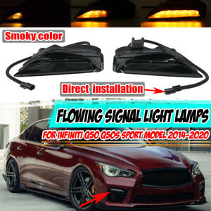 Fog Turn Signal Light Sequential LED Lamp For Infiniti Q50 Q50S Sport 2014-2020
