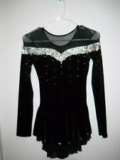 Black ChloeNoel Figure skaitng Dress For Competition Size Youth L or Adult XS