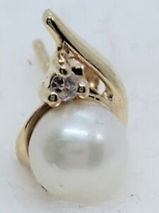 R63 SINGLE 14k Yellow Gold 6mm Cultured Pearl Fine Diamond Accent Stud Earring