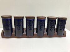 Vintage Hornsea 6 Pottery Spice/Herb Jars, Heirloom Blue, With Teak Lids & Rack