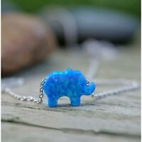Teeny Tiny Opal Elephant Pendant Necklace with Opal in Sterling Silver Necklace