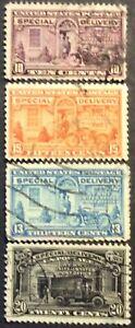 Four 1927 Special Delivery singles, Scott #E15-E17, E19, Used, Fine plus