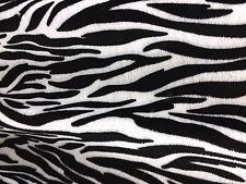 VELBOA FAUX FUR SM ZEBRA ANIMAL PRINT FABRIC BLACK/WHITE SEWING POLY BY THE YARD