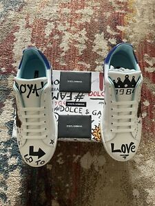 DOLCE & GABBANA Shoes Sneakers White Leather The King Sequined Mens EU44 / US11