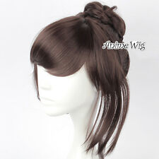 45CM Dark Brown Anime For Gothic Style Role Play Medium Cosplay Wig With Buns