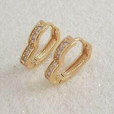 18K Gold Filled Stylish Italian Petite Diamond Heart Hoops Earrings 18mm