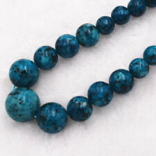 """New 6-14mm Blue Multicolor Turkey Turquoise Gems Round Beads Necklace 18"""" AAA+"""