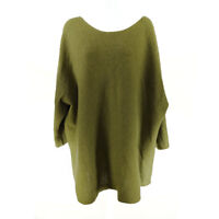Pure Jill Sweater Tunic Green Women's 4X Wool Cashmere 3/4 Sleeve Knit Crew Neck
