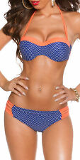 Women's Polka Dot Halter Top & Bikini Bottom Swimwear Swimsuit - 2XL