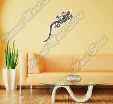 Gecko Lizard Floral Flower Color Colorful Wall Sticker Room Interior Decor 22""