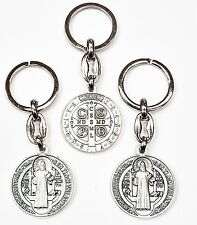 Lot 3 St Benedict Medal Silver Tone Keychain Key Ring-Pope blessing upon request