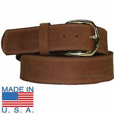 "Men Work Leather Belt 1-3/4"" Stitching Plain Belts 415 Removable Buckle USA MADE"