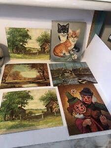6 Litho 8 By 6 Vintage Pictures Clows Cats And  Scenery